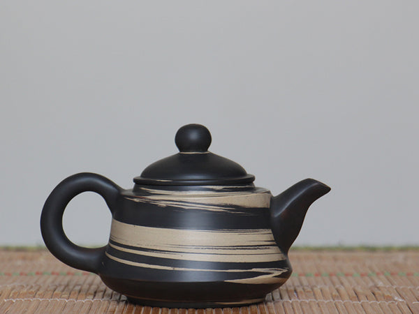 "Jian Shui Clay ""Black and White Swirl #Z2"" Jin Zhong Teapot by Li Wen Xue * 210ml"