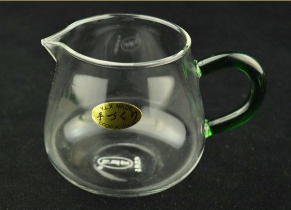Clear Glass Gong Fu Cha Hai Serving Pitcher with Green Glass Handle * 260ml