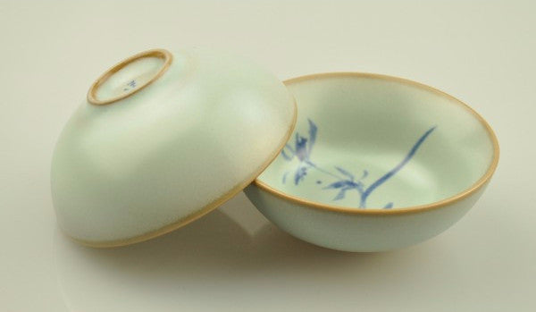 Ru Yao Celadon 50ml Cups with Orchid Design * Set of 2