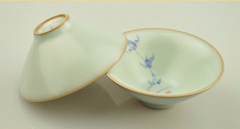 Ru Yao Celadon 65ml Cone-Shaped Cups with Orchid Design * Set of 2