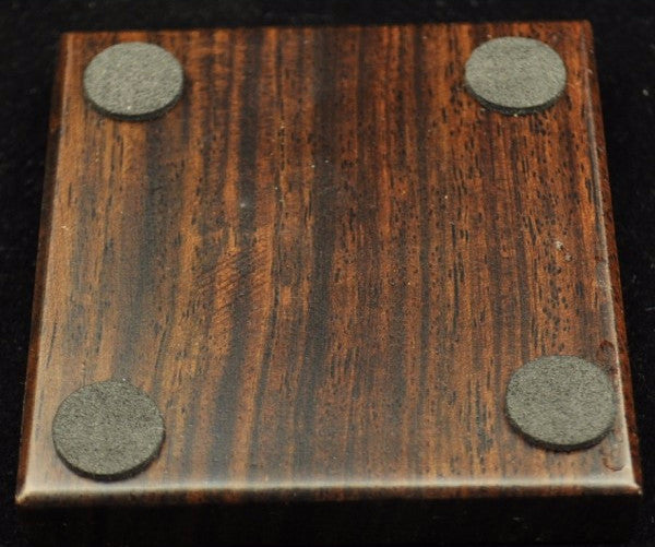 Black Wood Circle-in-Square Coaster for Placing Tea Cup