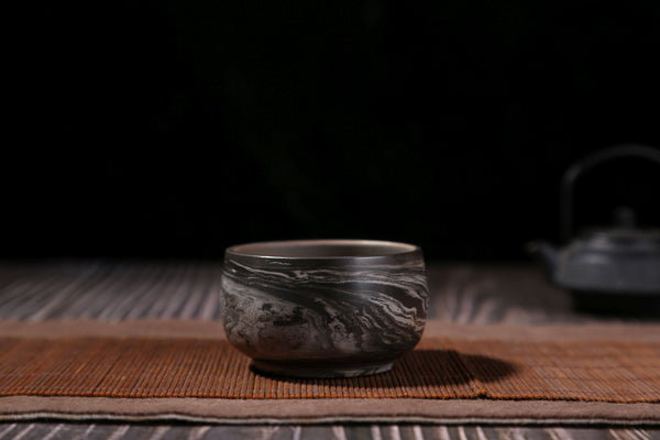 Swirled Black and White Jian Shui Tea Cups * Set of 2