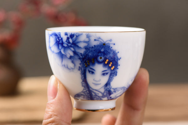 "Jingdezhen Porcelain ""Chinese Opera"" 80ml * Set of 2 - Yunnan Sourcing Tea Shop"