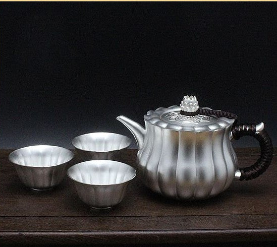 "Pure Silver 999 ""Lotus Petal"" Teapot and 3 Cups Set in Box"