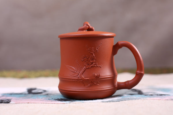 "Yixing Qing Shui Ni Clay ""Plum Blossoms"" Brew Cup with Cover"