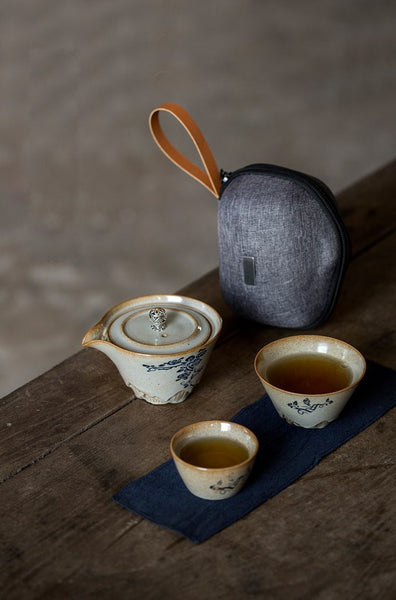 Rose Bush Travel Tea Set With Easy Gaiwan and Cups
