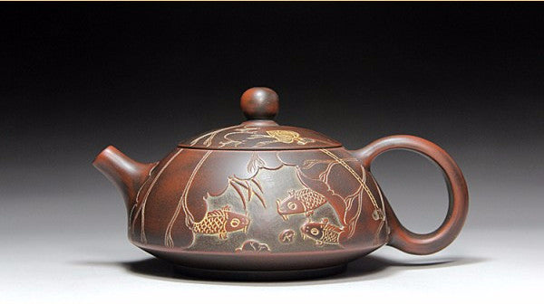 "Qin Zhou Clay Half Moon Teapot ""Koi Pond"" by Hu Ying Jia * 150ml - Yunnan Sourcing Tea Shop"