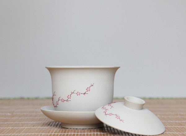 "Jian Shui Clay ""Red Plum Blossoms"" Gaiwan by Hu Wen Jia 300ml"