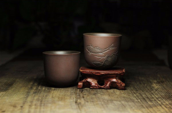 "Qin Zhou Clay Cups ""Lian Nian You Yu"" by Tao Hu Zhe * 60ML - Yunnan Sourcing Tea Shop"