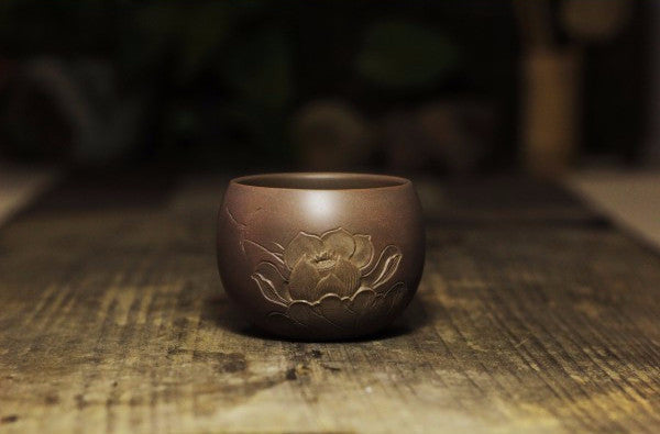 "Qin Zhou Clay Cups ""Lotus"" by Huang Zhan Hai - Yunnan Sourcing Tea Shop"
