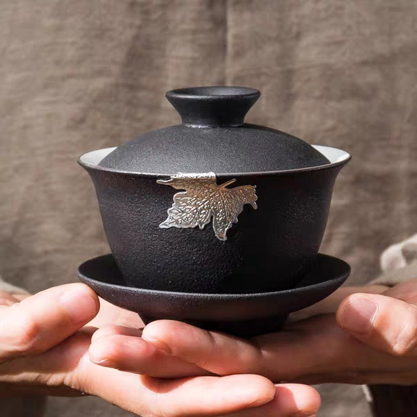 Silver Leaf on Black Ceramic Gaiwan * 200ml