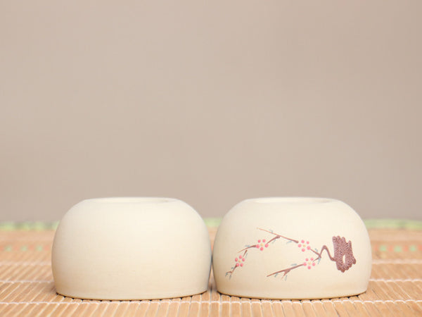 "Hand-Made ""Plum Blosson Bough"" Jian Shui White Clay Cups * 90ml * Set of 2"
