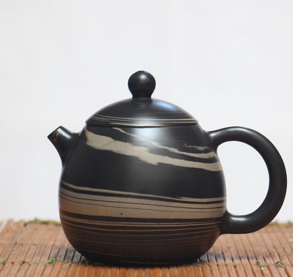 "Jian Shui Clay ""Black and White Swirl J13"" Teapot by Yao Yun Chao"