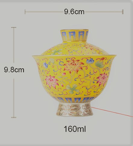 "Fo Shan Style ""Royal Yellow Mudan"" and 999 Silver Gaiwan * 160ml"