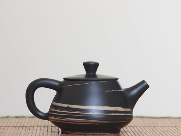 "Jian Shui Clay ""Black and White Swirl"" Shi Piao Teapot by Li Wen Xue * 230ml"