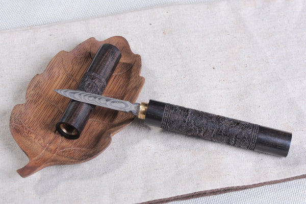 "Wenge Wood ""Dragon Pole"" Damascus Steel Knife for Pu-erh Tea"
