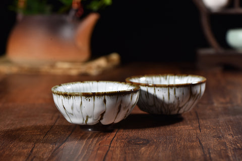 "Glazed Ceramic ""Creamy"" Cups * Set of 2"