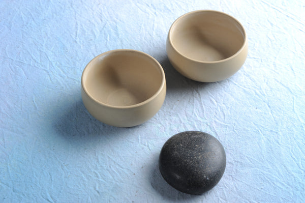 "Hand-Made ""Cream"" Jian Shui White Clay Cups * Set of 2"
