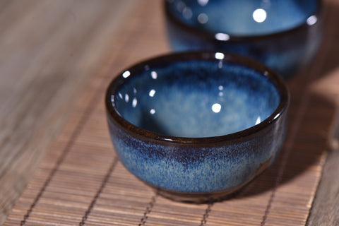 Cobalt Blue Gradient Glazed Tea Cups for Gong Fu Tea * Set of 2
