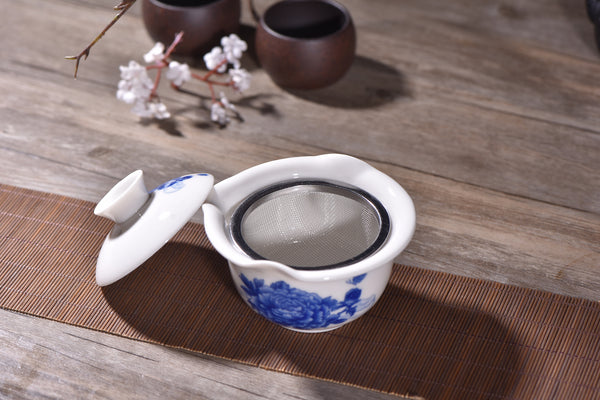 Blue Mudan Easy Gaiwan with Stainless Steel Mesh Strainer