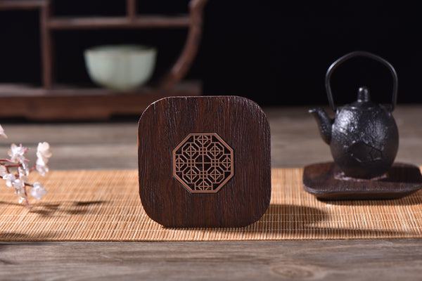 """Metal and Wood"" Coaster for Tea Cups"