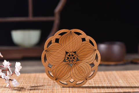 """Flower Mandala"" Coaster for Tea Cups"