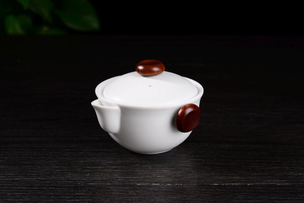 White Porcelain Easy Gaiwan and Cups Set