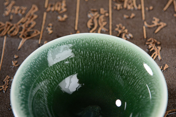 Green Gradient Glazed Ceramic Tea Cups