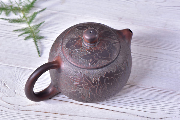 "Qin Zhou Clay Teapot ""Peony Xi Shi"" by Hu Ying Jia * 200ml - Yunnan Sourcing Tea Shop"