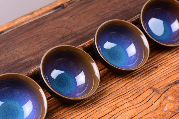 Blue Dragon Eye Tian Mu Glazed Ceramic Cups