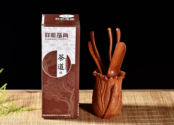 "Narra Wood ""Lotus Flower"" Hardwood Cha Dao Set for Gong Fu Tea"
