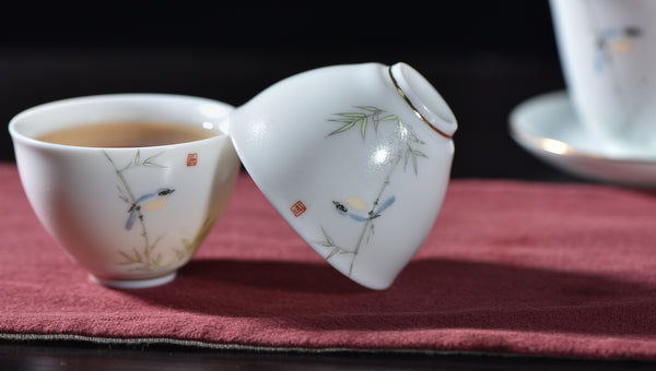 "Porcelain ""Bluebird and Bamboo"" Tea Set with Gaiwan and Two Cups"