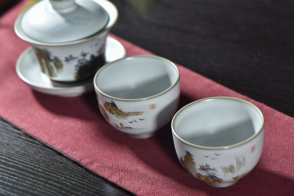"Ceramic ""Mountains and Water"" Tea Set with Gaiwan and Two Cups"