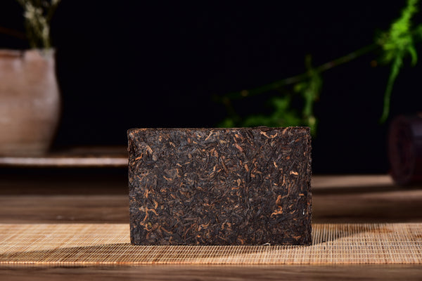 "Bamboo Wrapped ""Gong Ting"" Ripe Pu-erh Tea Brick in Gift Box"