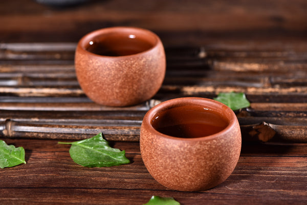 Red Nixing Clay and Sand Tea Cups for Tea * Set of 2 * 65ml Each