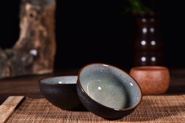 """Black Rain Meets the Winter Sky"" Glazed Tea Cups * Set of 2 - Yunnan Sourcing Tea Shop"
