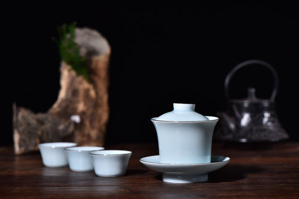 """Silver Lining"" Porcelain Gaiwan with Matching Cups and Cloth Carrier Bag - Yunnan Sourcing Tea Shop"