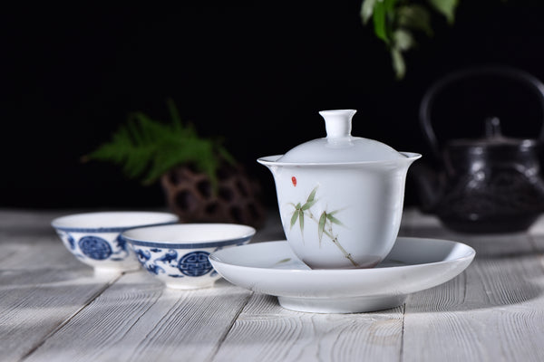 """Bamboo on White"" Gaiwan and Tea Boat for Elegant Gong Fu Tea Brewing - Yunnan Sourcing Tea Shop"