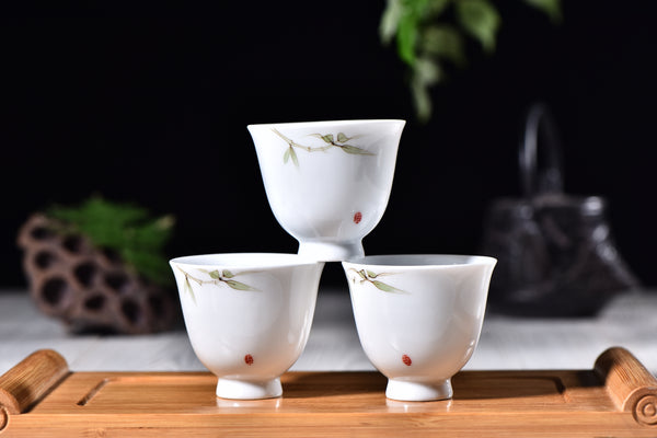 """Bamboo on White"" Cups for Tea * Set of 4 - Yunnan Sourcing Tea Shop"