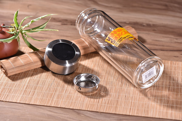 Yunnan Sourcing Logo Insulated Double Layer Glass Thermos