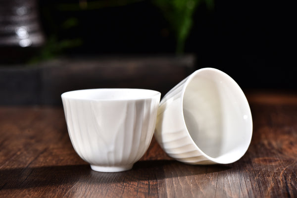 "De Hua ""Bai Ci"" White Ceramic Tea Cups * Set of 2"