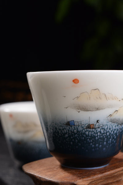 """Mountains Reaching the Sea"" Gaiwan and Cups"