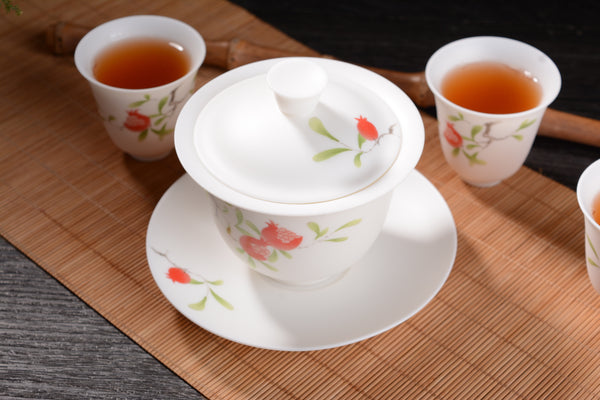 "Porcelain ""Pomegranate Bounty"" Gaiwan and Cups"