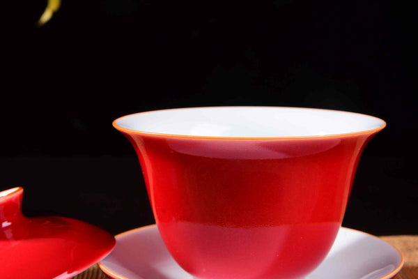 Red Ceramic Gaiwan for Gong Fu Tea Brewing