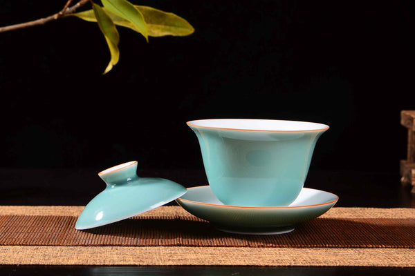 Aqua Blue Ceramic Gaiwan for Gong Fu Tea Brewing