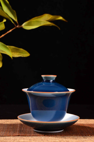 Cobalt Blue Ceramic Gaiwan for Gong Fu Tea Brewing