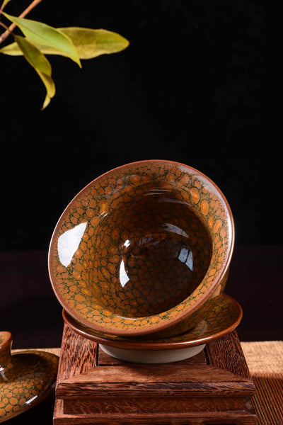 "Jianzhan ""Tortoise Shell"" Hand-Made Stoneware Gaiwan and Cups"