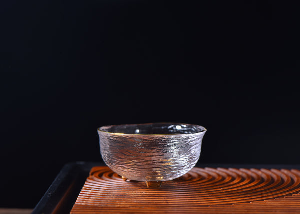 "Gold Rimmed ""Obscura"" Glass Tea Cups 50ml Each * Set of 2"