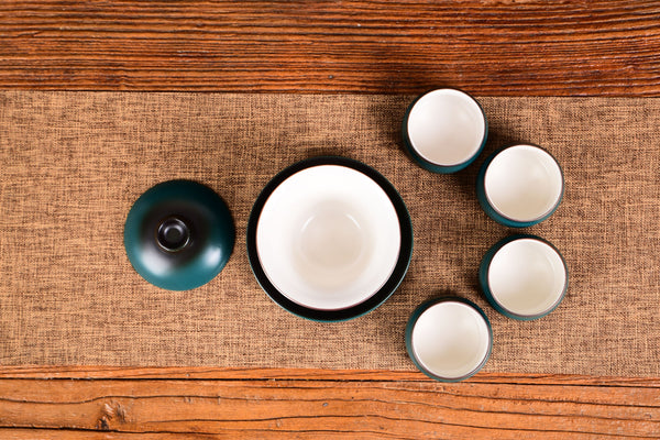Fade to Blue Ceramic Gaiwan and Cups