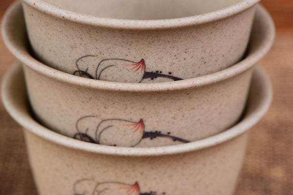 Lotus Flower and Goldfish Cu Tao Clay Cups